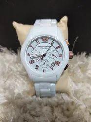 Round Emporio Armani Wrist Watch, For Daily