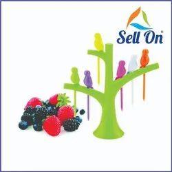 Color Coated Plastic Fruit Fork Set, For Party Supplies, Size: 14 Cm X 14 Cm X 3.5 Cm