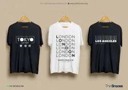Printed Round Men Half Sleeves Cotton T Shirts, Size: Large