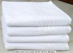 Plain Milky White Cotton Terry Bath Towel, 600 grams, Size: 30 Inches X 60 Inches