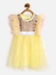 yellow Net Kids Girl Designer Frock, 6 Months To 3 Years
