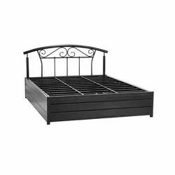 Silver Polished Stainless Steel Metal Bed, Box Type, Size: 78