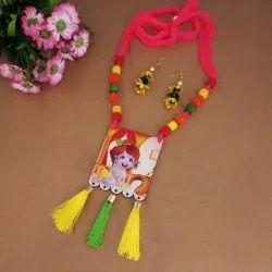 Multicolor JewelEMarket Lord Krishna Digital Printed Wooden Thread Necklace Set, Box