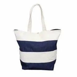 D Cut Canvas & Denim Stylish Shopping Bag, Capacity: 8 Kgs, Size: 40 X 47 X 18 Cm