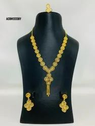 Indian Bridal One Gram Gold Plated Fashion Jewelry Necklace Set For Women