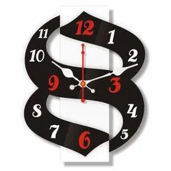 Black Analog Signamio DN-001 3D Design MDF Acrylic Wall Clock, For Living Room Home Office, Size: 10 X 3.5 Inch