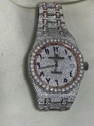 Moissanite Studded IcedOut Watch, 41mm Dial Two tone ( Rose/ White ) 8