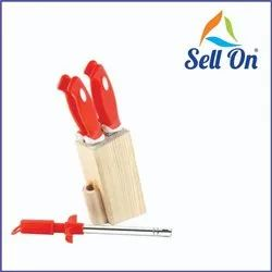 Red Wooden,SS Wooden Stand And Stainless Steel Knife Set, For Kitchen