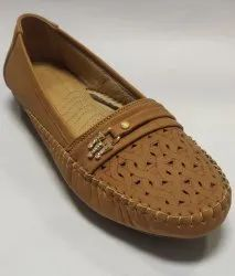 Polka Faux Leather Designer Flat Belly For Women, Size: 36-42