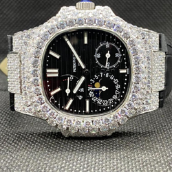 Moissanite Studded Diamond Watch, EF/VVS Diamond, Iced Out Wrist Watch 13
