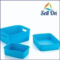 Multipurpose Plastic Kitchen Vegetable (Pack of 3, Multi Colour)
