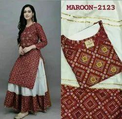 Sagun Jaipuri Block Printed Rayon Skirt Kurti Set, Size: Large