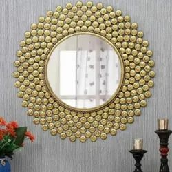 Iron And Glass Round Wall Mounted Mirror