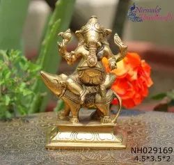 Nirmala Handicrafts Exporters Metal Brass Mouse Ganapati/ Ganesha Statue for worship and Gift Item
