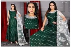 Embroidery Ladies Green Long Frock Suit, 180