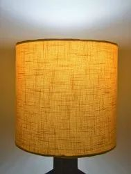 Wood Yellow Fabric Shade Decorative Table Lamp