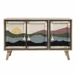 JAE Wooden Traditional Handwoven Sideboard, Size: 52x18x30 Inches