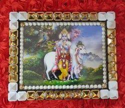 Multicolor Plastic VSP 132 - Pyra Shri Krishna Frame With Pyramid & Crystal Beads, Size: 10 X 1.5 X 8 Inch
