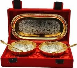 White Metal Gold Plated Tray, Bowl & Spoon Set For Wedding & Corporate Gift