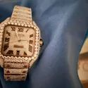 Moissanite Studded Iced Out Watch, 41mm Dial, EF/VVS Diamond, Date Wrist Watch 21