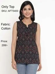 Female Black Women Cotton Casual Printed Sleeveless Tops