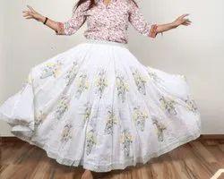 cotton hand block printed long skirt