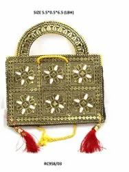 Golden Cotton Canvas Embroidered Ladies Hand Bag