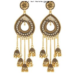 Brass Gold And Silver Ladies Party Wear Earring