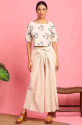 Janasya Women's Cream Cotton Flex Crop Top With Palazzo(J0349)