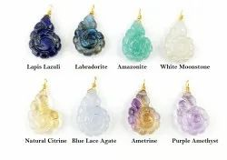 Nautilus Shell Carved Gemstone Pendant - Gold Vermeil Wire Wrapped Pendants For Earring and Necklace