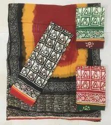 Women Embroidered Batik Print Dress Material