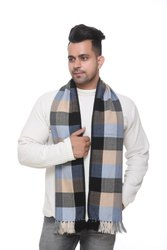 Men Check Brown Woolen Scarves