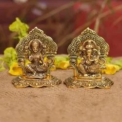 Nirmala Handicrafts Exporters Metal Frame Laxmi Ganesha Gift And Worship Idols 4 inches