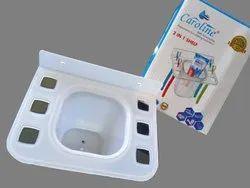 Caroline White Bathroom Plastic Toothbrush Holder