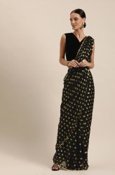 Janasya Women's Black Poly Georgette Printed Saree With Blouse Piece(SAR062)