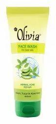 Neem,Tulsi And Aloe Vera Green Olivia Face Wash, Gel, Packaging Size: 60ml