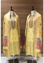 Yellow Cotton Embroidery Suit