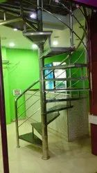 Silver Stairs Stainless Steel Round Staircase Railing, For Home