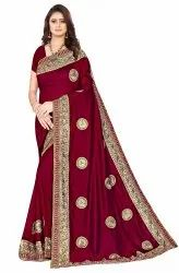 Janasya Women's Multicolor Vichitra Silk Embroidered Saree With Blouse Piece(MERCEDES-Pack of 4)