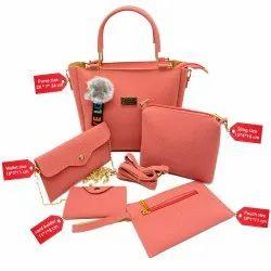 3D Plain Five Piece Purse Sling Wallet Pouch Ladies Bag Combo
