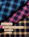Indigo Check 100% Cotton Yarn Dyed Twill Check Shirting Fabric