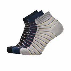 Cotton Ankle Striped Black Blue Grey Socks
