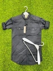 Casual Wear Black Men Slim Fit Plain Cotton Shirt