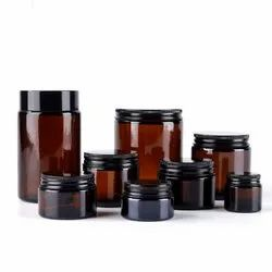 Empty Cosmetic Cream Amber Glass Jar With Black Lid