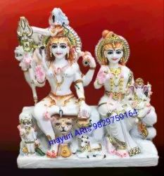 Marble Shiva Statue With Ganesh And Parvati