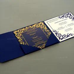 Bordered Folded Transparent Acrylic Wedding Invitation