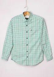 Roman Island Collar Neck Men'S Cotton Check Shirt, Handwash