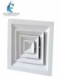 Color Coated Aluminum Square Ceiling Air Diffuser, For Industrial