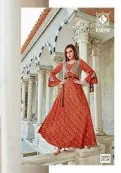 Ladies Printed Designer Silk Dress