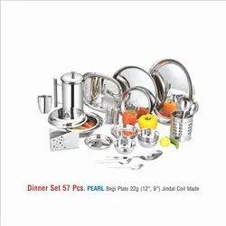 STAINLESS STEEL DINNER  SET -57 PCS-PEARL